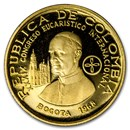 1968 Colombia Proof Gold 100 Pesos Pope Paul VI