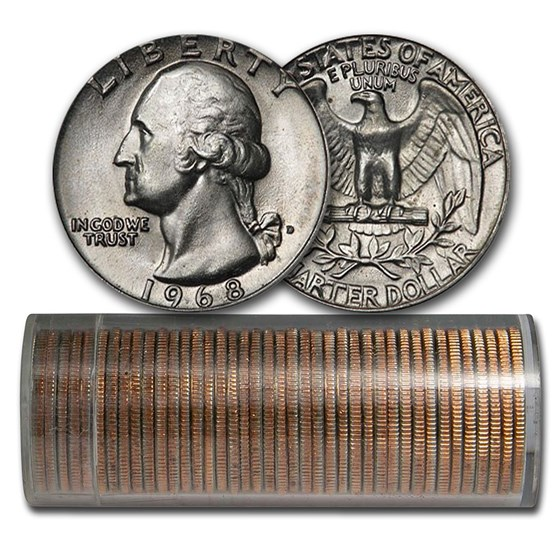 1968-D Washington Quarter 40-Coin Roll BU