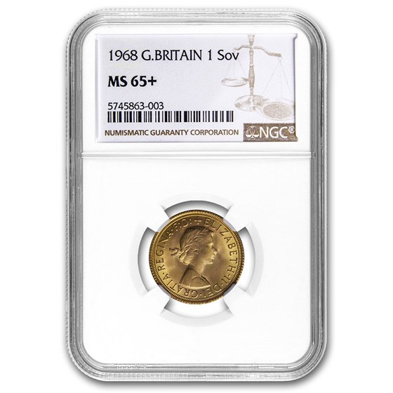 1968 Great Britain Gold Sovereign Elizabeth II MS-65+ NGC