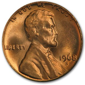 1968-S Lincoln Cent BU (Red)