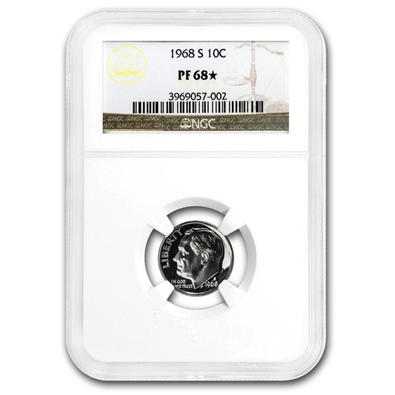 1968-S Roosevelt Dime PF-68* NGC