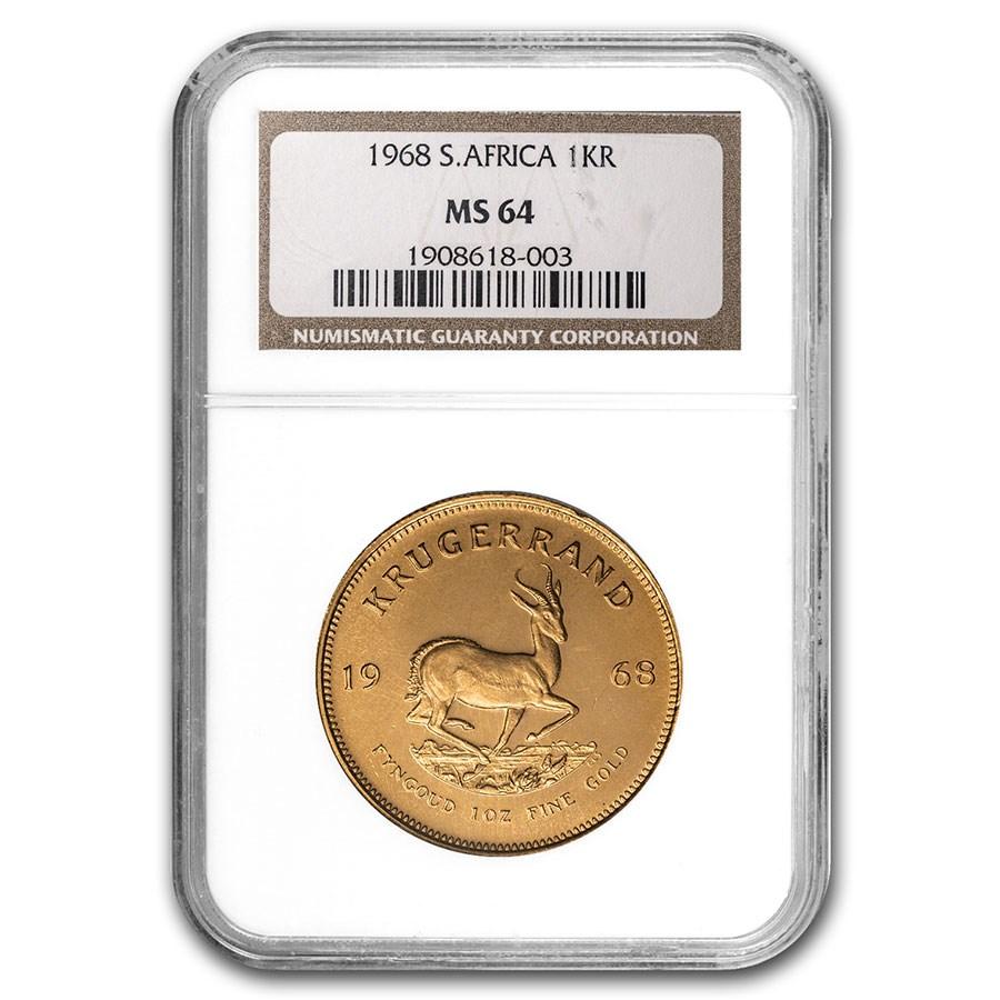 1968 South Africa 1 oz Gold Krugerrand MS-64 NGC