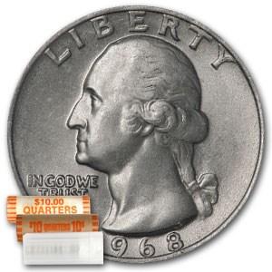1968 Washington Quarter 40-Coin Roll BU