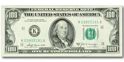 1969-A (K-Dallas) $100 FRN XF