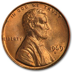 1969-D Lincoln Cent BU (Red)