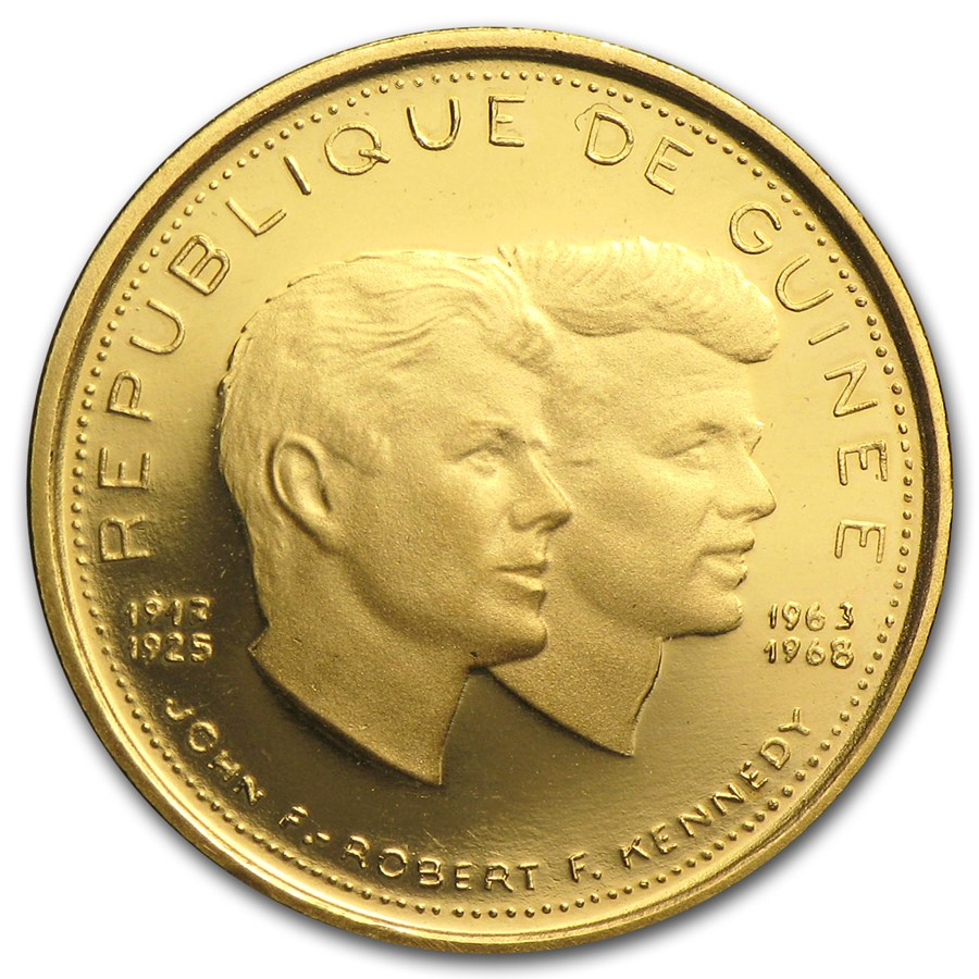 1969 Guinea Gold 1000 Francs Kennedys Proof