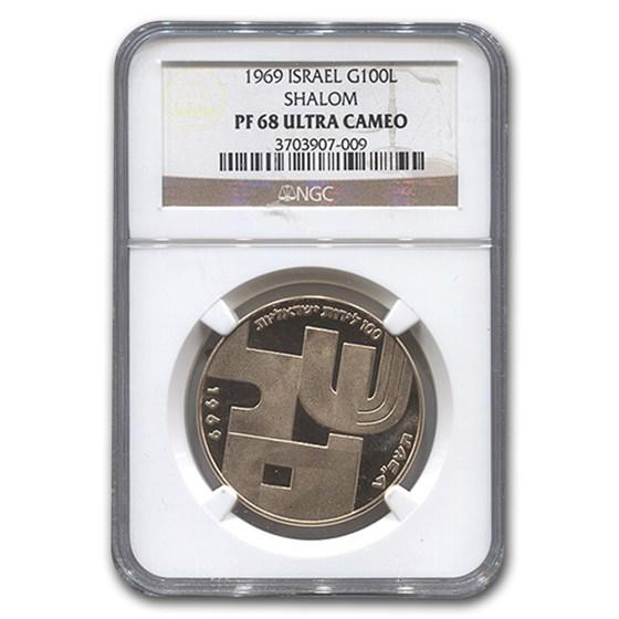 1969 Israel Gold 100 Lirot PF-68 NGC