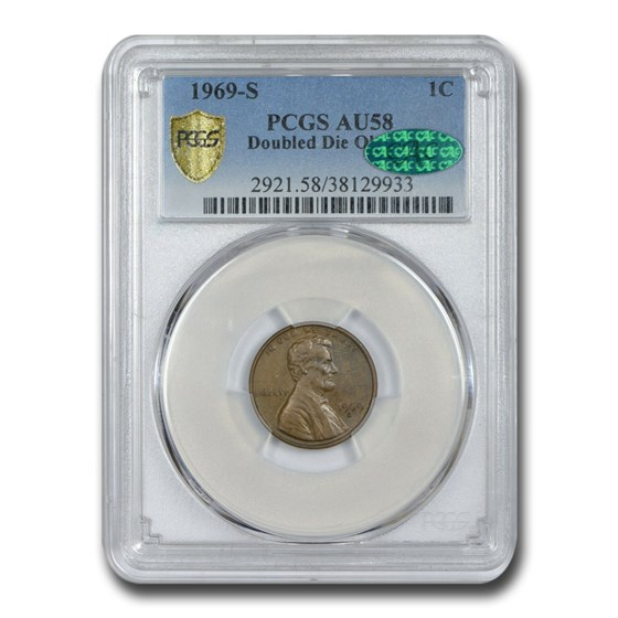 1969-S Lincoln Cent Doubled Die Obverse AU-58 PCGS CAC (Brown)