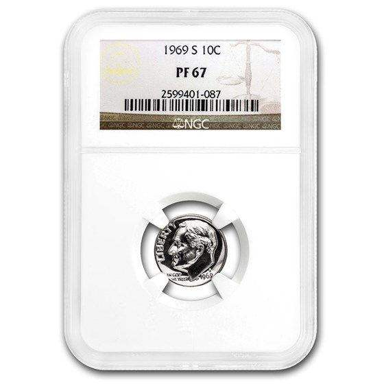 1969-S Roosevelt Dime PF-67 NGC