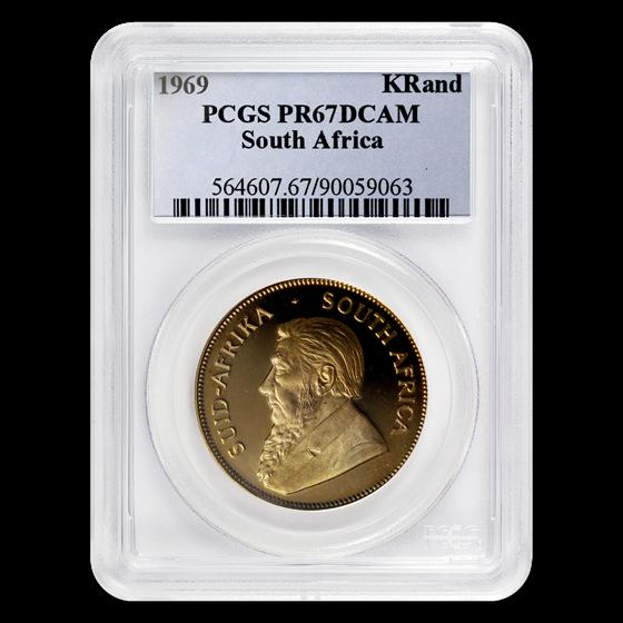 1969 South Africa 1 oz Gold Krugerrand PR-67 PCGS (DCAM)