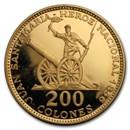 1970 Costa Rica Gold 200 Colones Juan Santamaria Proof