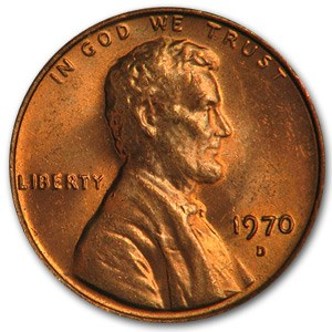 1970-D Lincoln Cent BU (Red)