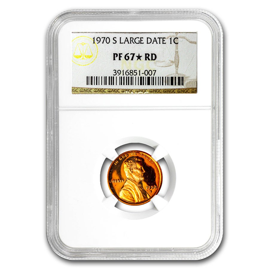 1970-S Large Date Lincoln Cent PF-67* NGC (Red)