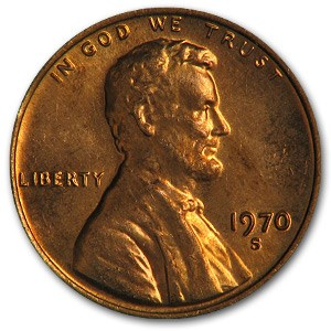 1970-S Lincoln Cent Large Date BU (Red)