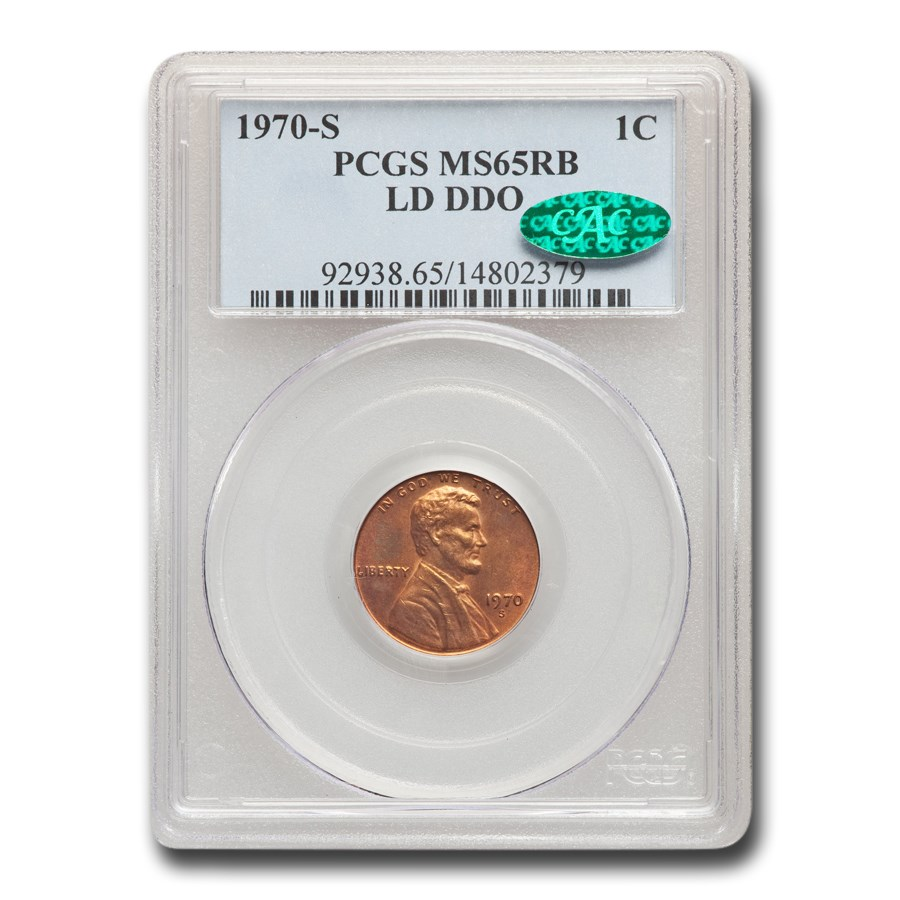 1970-S Lincoln Cent MS-65 PCGS CAC (Red/Brown, LD, DDO)