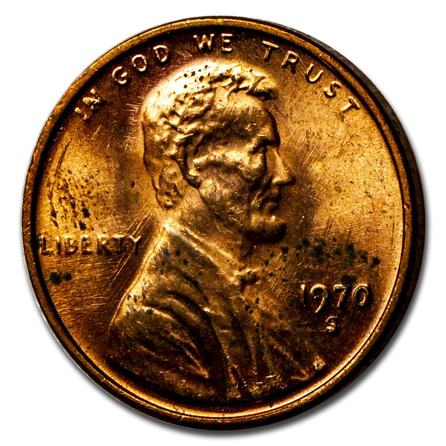 1970-S Lincoln Cent Small Date Variety BU (Toned)