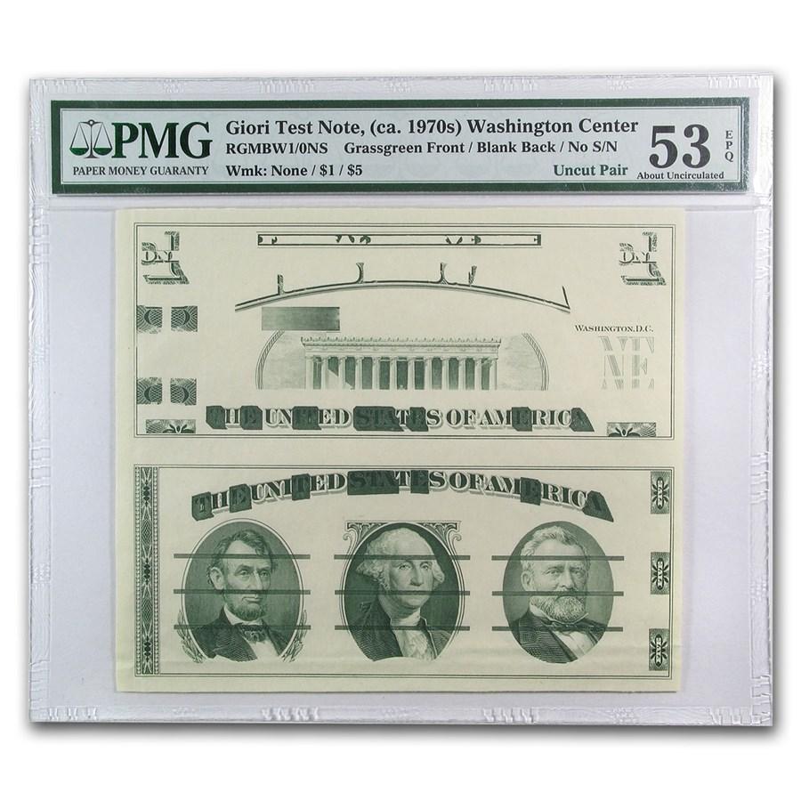 1970's Giori Test Piece $5/$1 FRN AU-53 EPQ PMG (Uncut Pair)