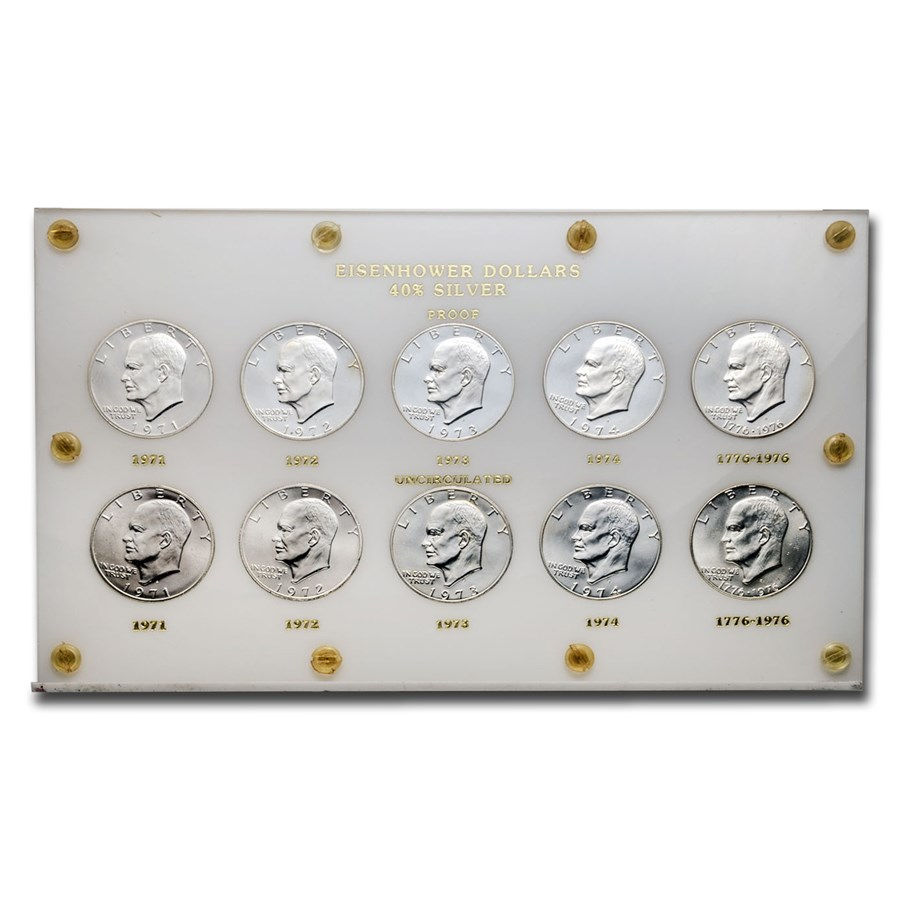 1971-1976 10-Coin Eisenhower Dollar Set BU/Proof (Capital Holder)