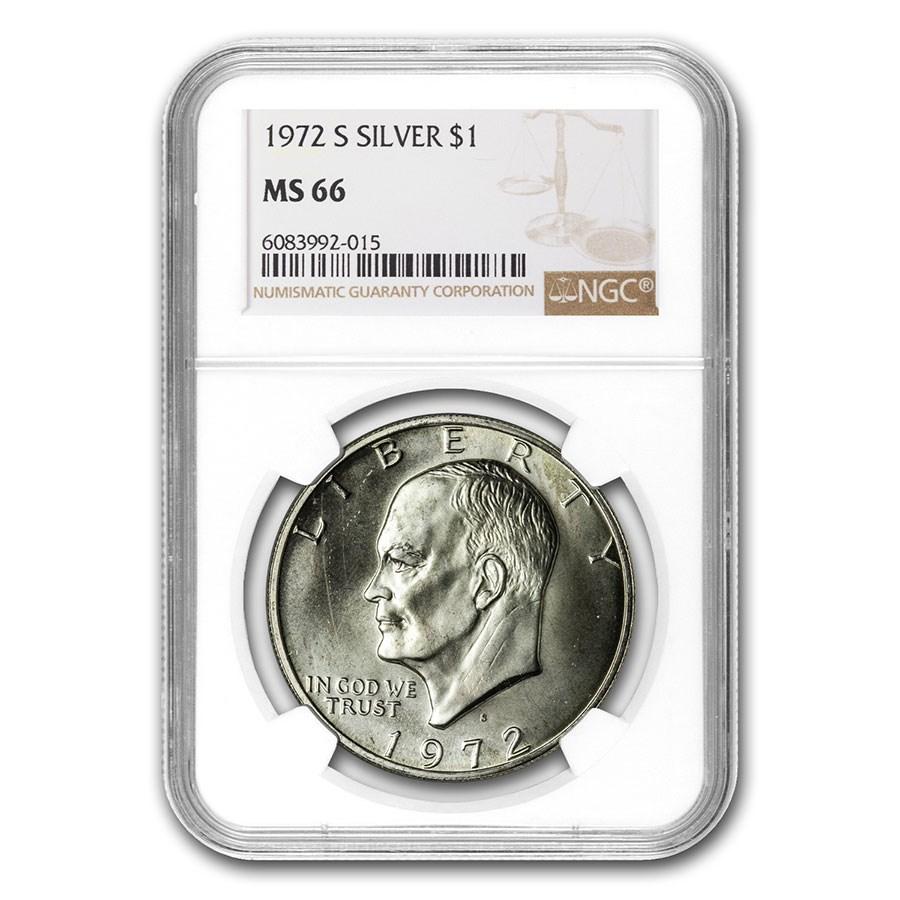 1971-1976 40% Silver Eisenhower Dollar MS-66 NGC (Random Year)