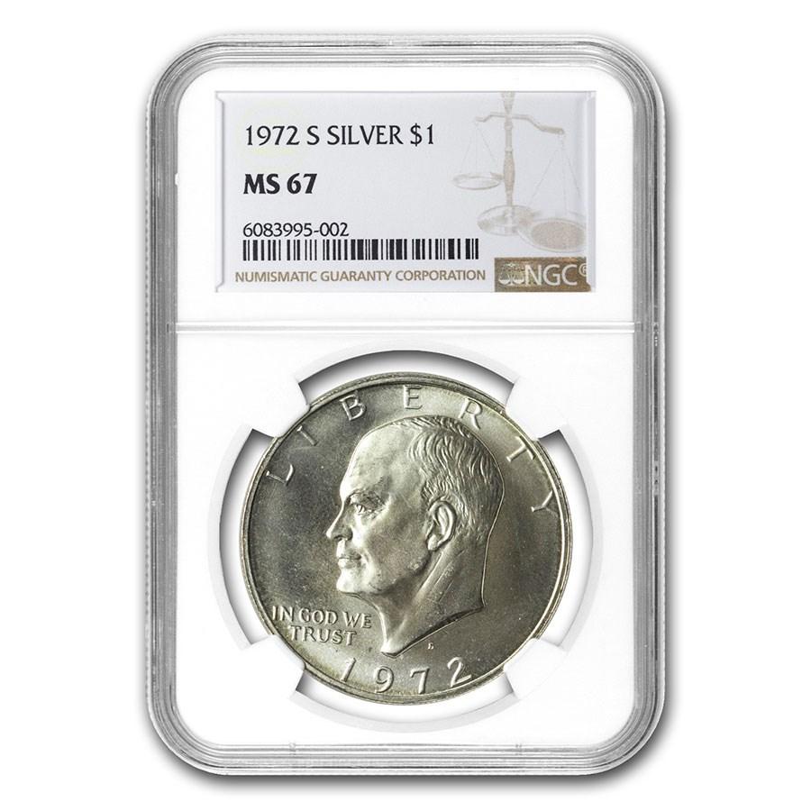 1971-1976 40% Silver Eisenhower Dollar MS-67 NGC (Random Year)