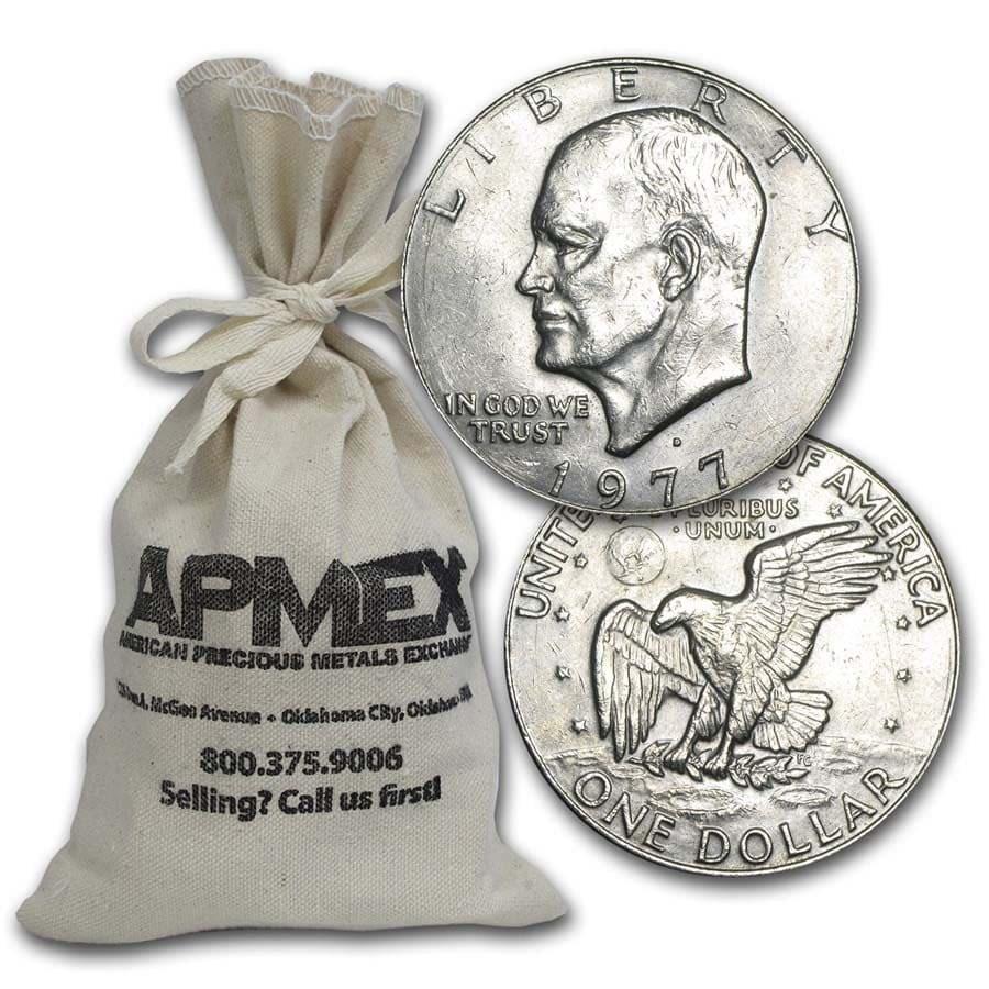 1971-1978 Clad Eisenhower Dollars $100 Face Value Bags XF-AU