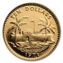1971 Bahamas Gold 10 Dollars Fortress & Palms BU