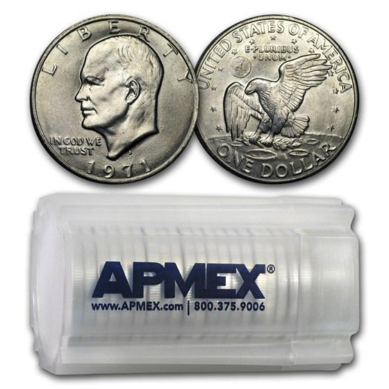 1971-D Clad Eisenhower Dollars 20-Coin Roll BU