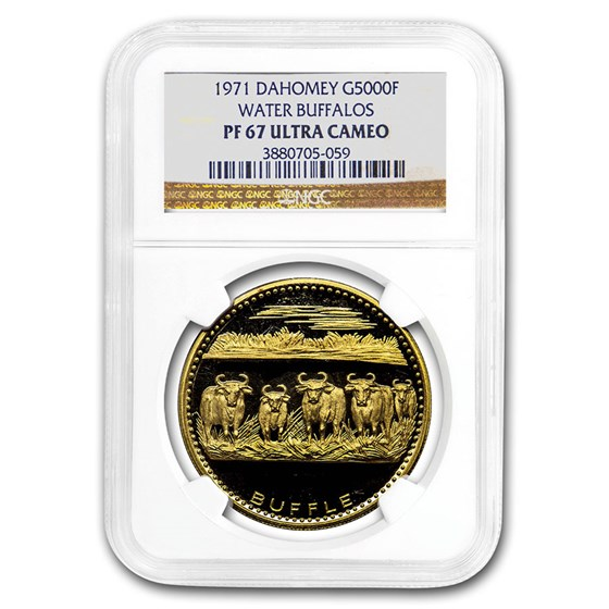 1971 Dahomey Gold 5000 Francs Water Buffalo PF-67 UCAM NGC