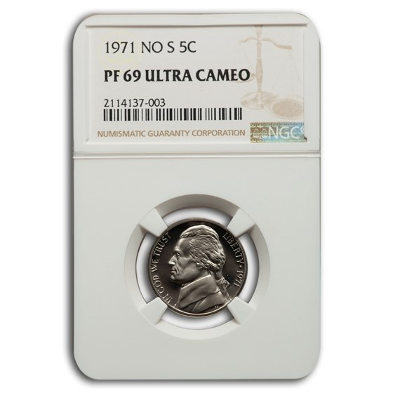1971- No S Jefferson Nickel PF-69 UCAM NGC