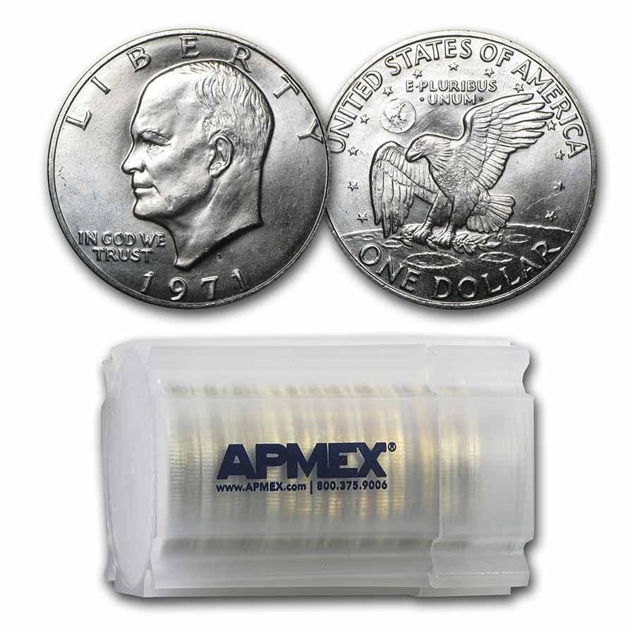 1971-S 40% Silver Eisenhower Dollars 20-Coin Roll BU