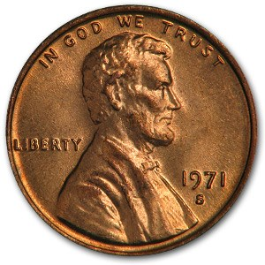 1971-S Lincoln Cent BU (Red)