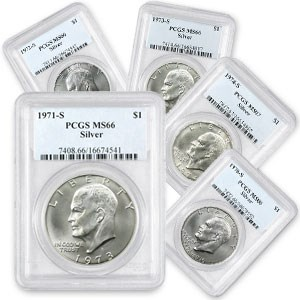 1971-S to 1976-S 5-Coin 40% Silver Ike Dollar Set MS-66 PCGS