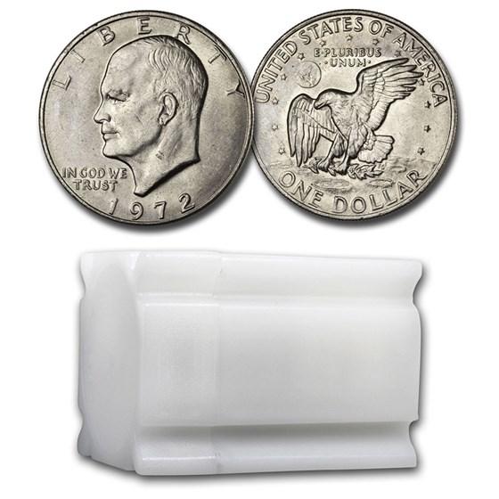 1972 Clad Eisenhower Dollars 20-Coin Roll BU