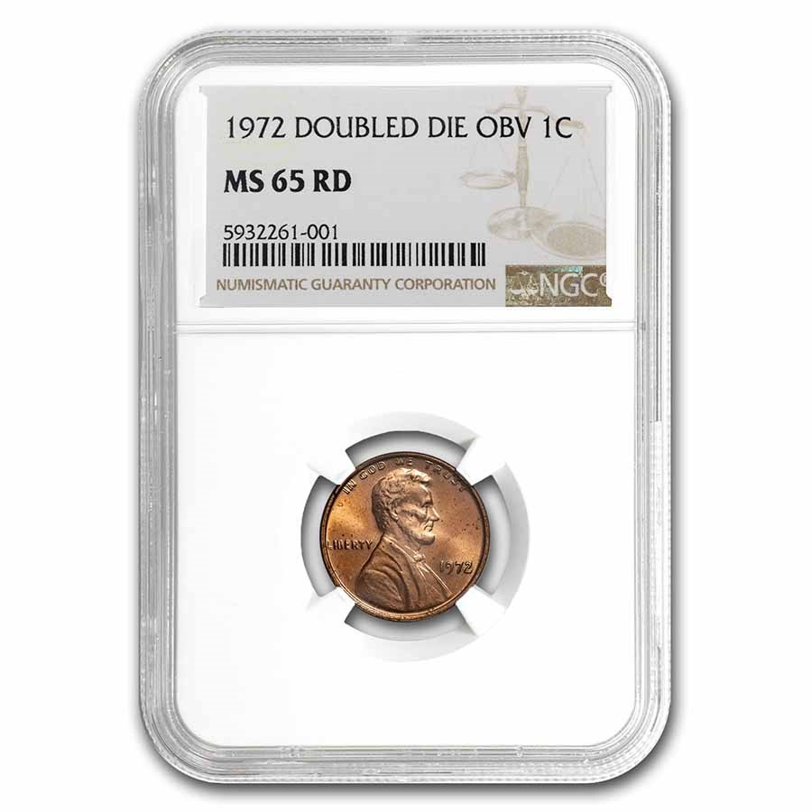 1972 Doubled Die Obverse Lincoln Cent MS-65 NGC (Red)