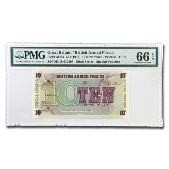 (1972) Great Britain/Armed Forces 10 New Pence CU-66 EPQ PMG