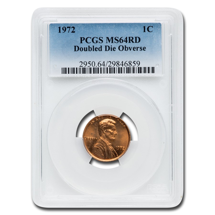 1972 Lincoln Cent Double Die Obverse MS-64 PCGS (Red)