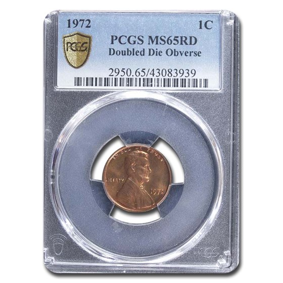 1972 Lincoln Cent Doubled Die Obverse MS-65 PCGS (Red)