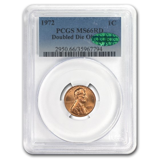 1972 Lincoln Cent MS-66 PCGS CAC (Red, Doubled Die Obverse)