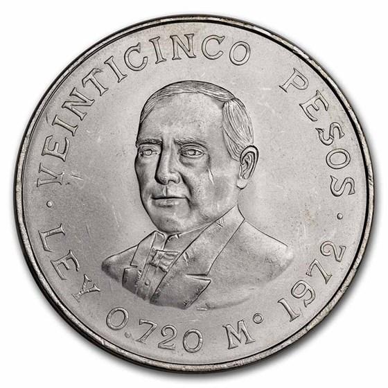 1972 Mexican Silver 25 Pesos Juarez AU-BU