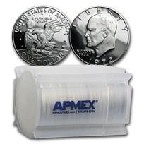 1972-S 40% Silver Eisenhower Dollars 20-Coin Roll Gem Proof