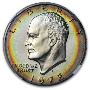 1972-S Eisenhower Silver Dollar PR-67 NGC (Toned)