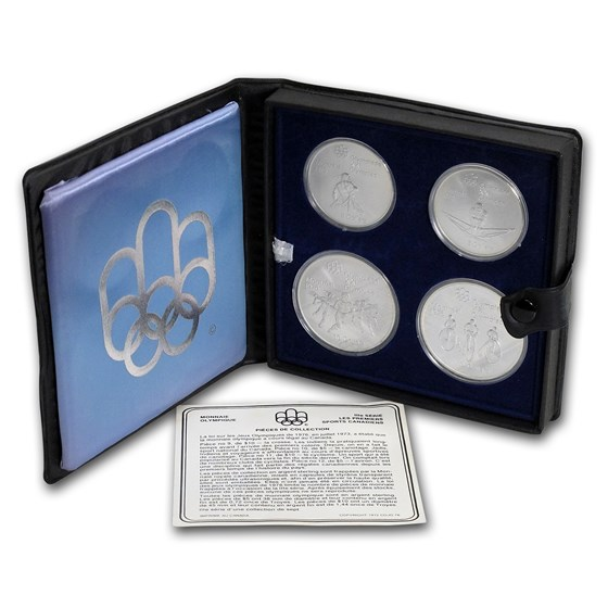 1973-1976 Canada 4-Coin Silver Montreal Olympics BU Set