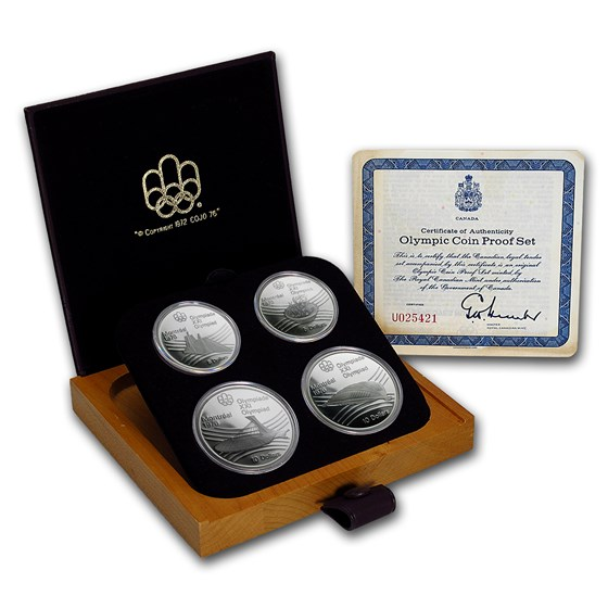 1973-1976 Canada 4-Coin Silver Montreal Olympics Proof Set