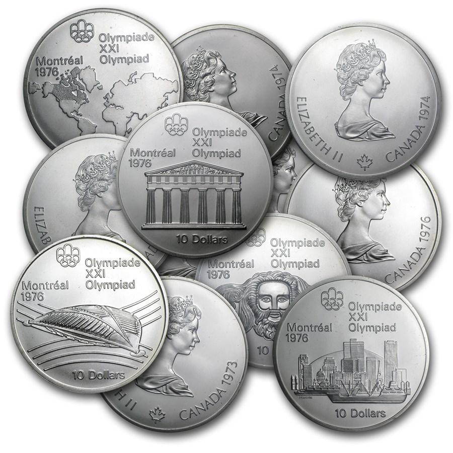 1973-1976 Canada Silver $10 Olympics BU/Proof (ASW 1.4454 oz)