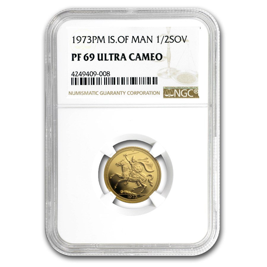 1973 Isle of Man Gold 1/2 Sovereign PF-69 NGC