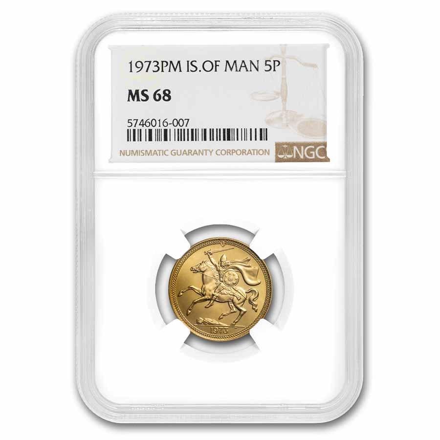 1973 Isle of Man Gold 5 Pounds MS-68 NGC