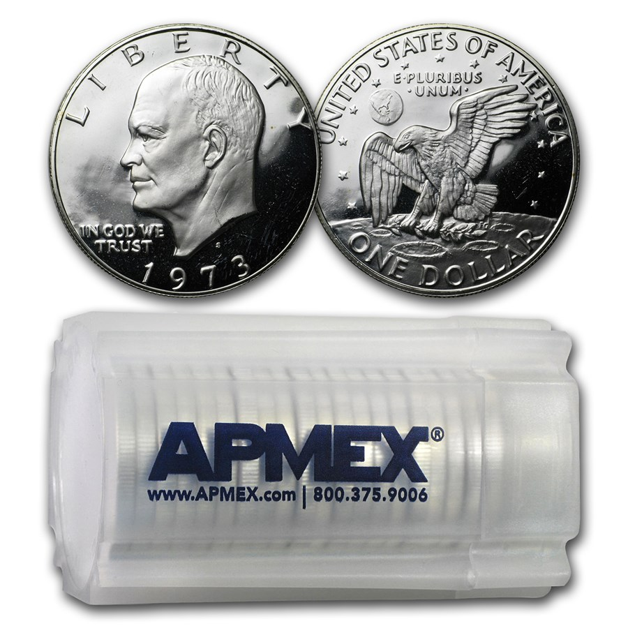 1973-S 40% Silver Eisenhower Dollar 20-Coin Roll Gem Proof