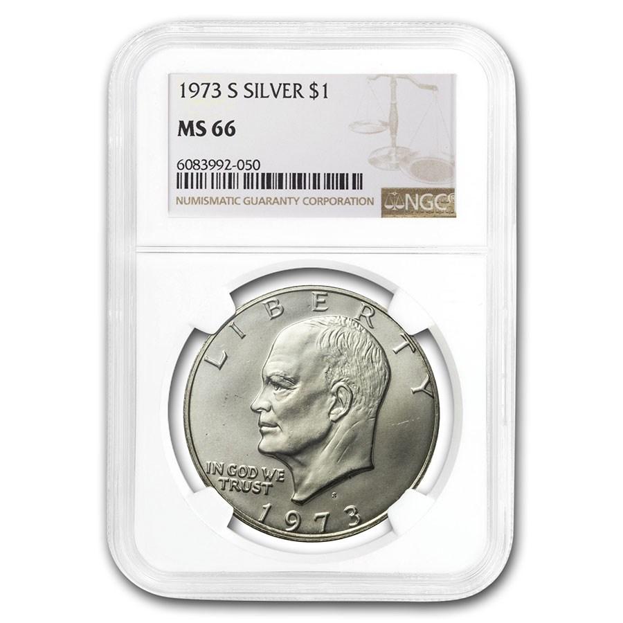 1973-S Eisenhower Silver Dollar MS-66 NGC