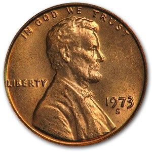 1973-S Lincoln Cent BU (Red)
