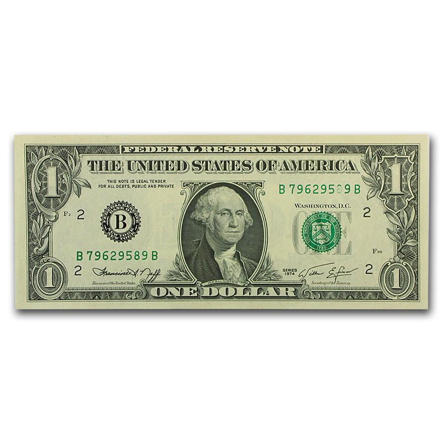 1974 (B-New York) $1.00 FRN CU (Printing Error)